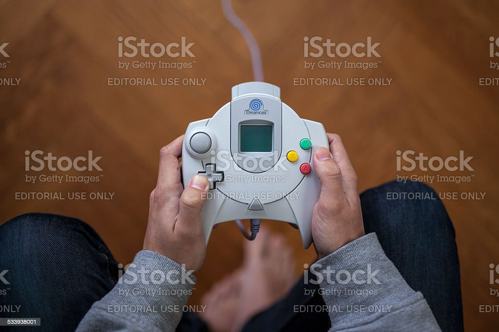 Sega Dreamcast game controller - From above stock photo
