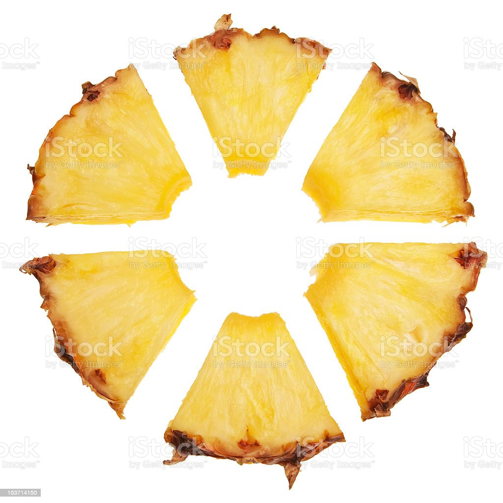 Segmented pineapple slice. stock photo