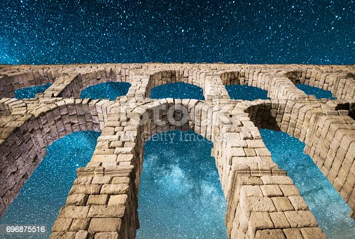 The beautiful Segovia Aqueduct, UNESCO World Heritage site, under the milky way.