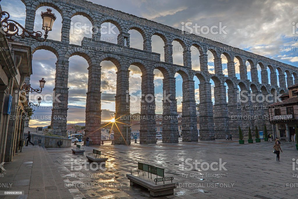 Segovia - Aqueduct of Segovia and Plaza del Azoguejo stock photo