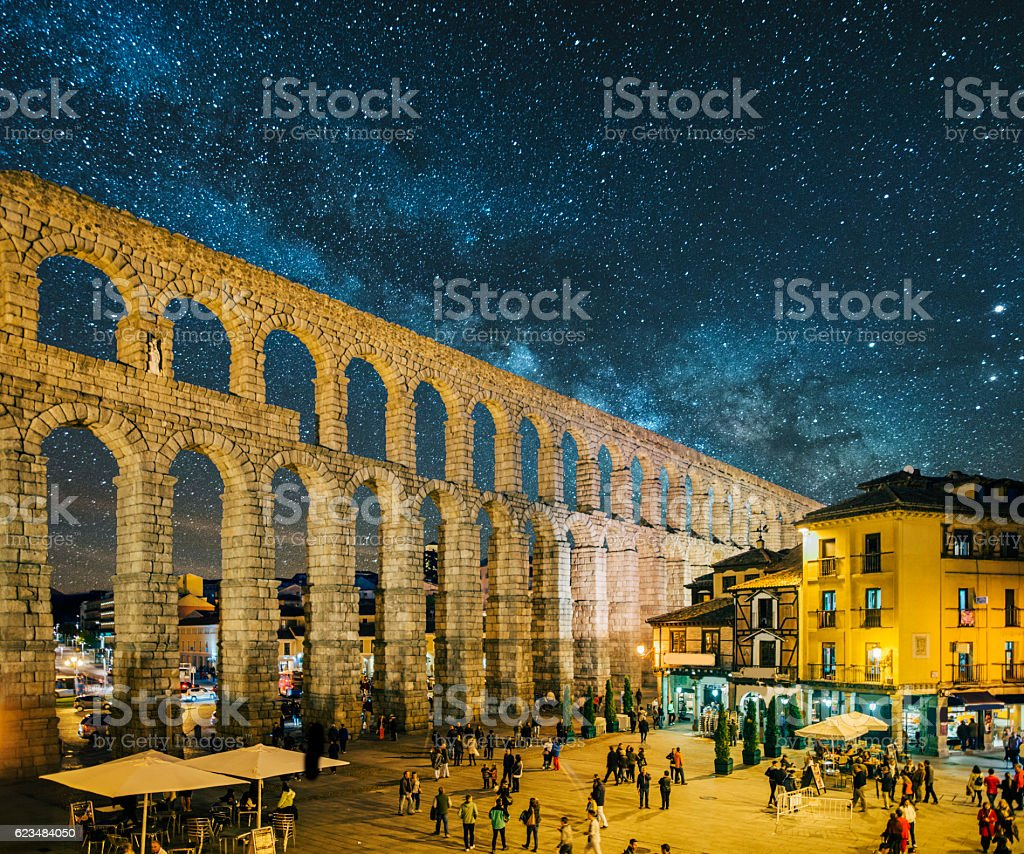 Segovia at night stock photo
