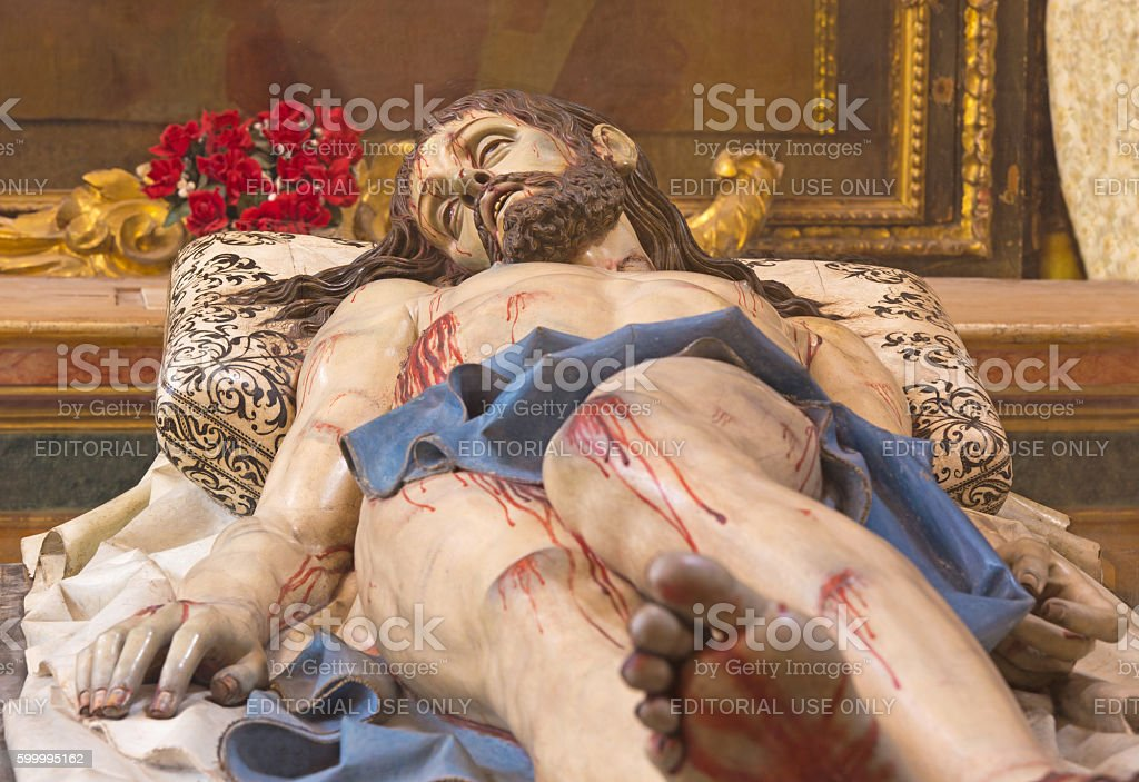 Segovia - carved statue of death Christ in the tomb stock photo