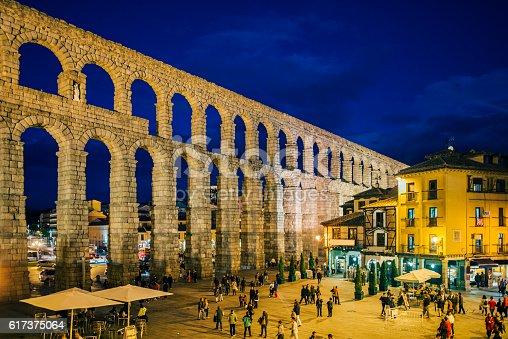 The roman aqueduct in Segovia, Spain.