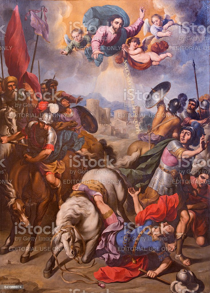 Segovia - The Conversion of St. Paul painting stock photo