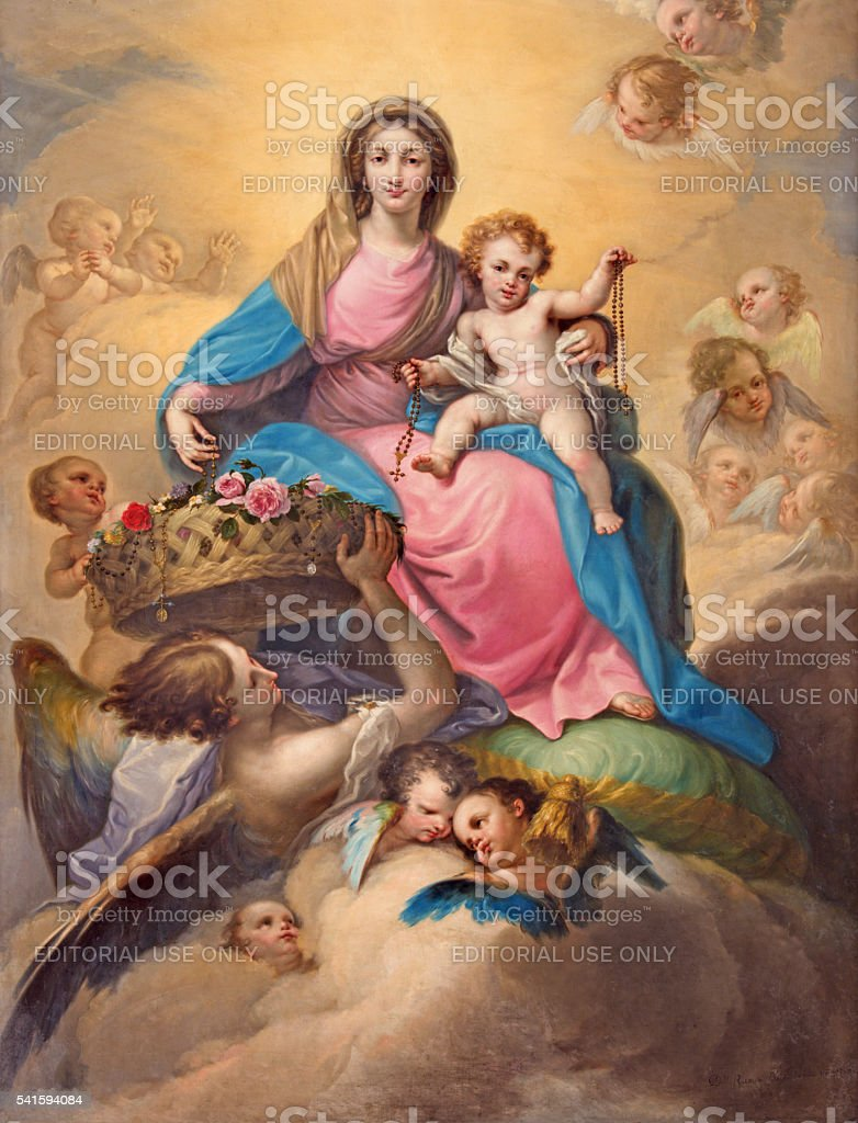 Segovia - The painting Madonna with the Child stock photo