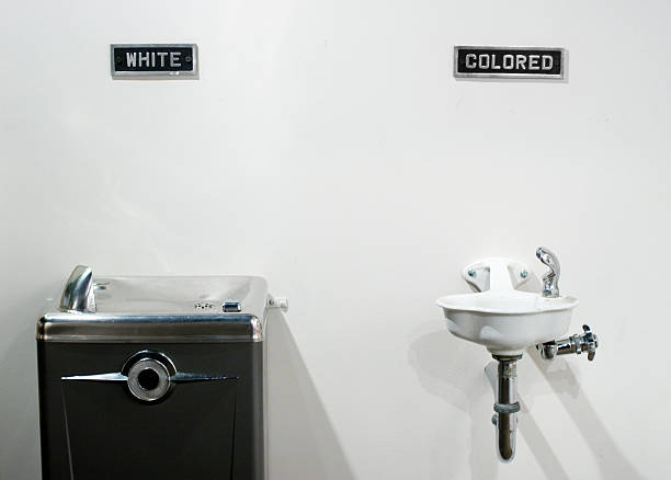 Segregated water fountains stock photo