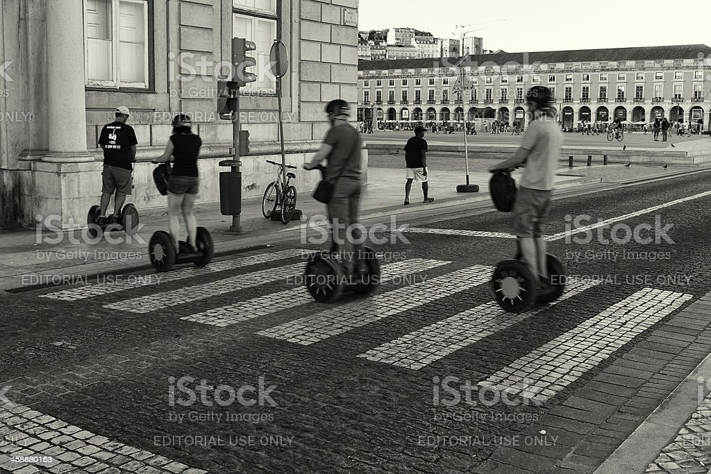 Segway Tourists in Lisbon royalty-free stock photo