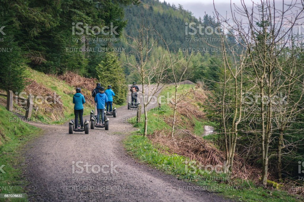 Segway travel on forest path stock photo