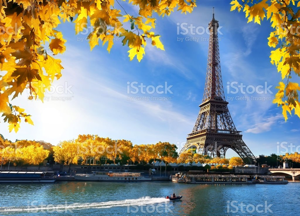 Seine and Eiffel Tower in autumn stock photo