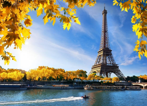 seine and eiffel tower in autumn - eiffel tower stock photos and pictures