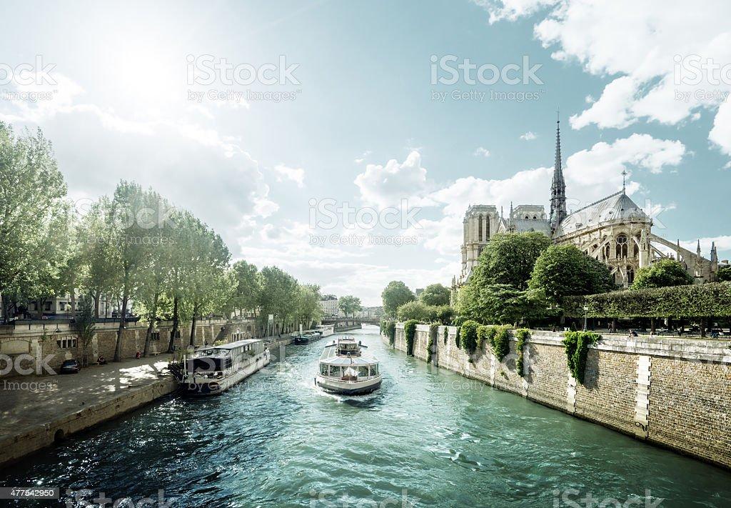 Seine and Notre Dame de Paris, Paris, France stock photo