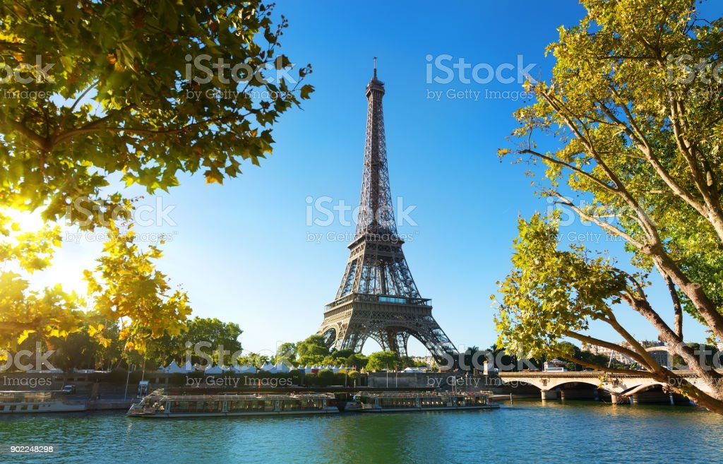 Seine in Paris in the evening stock photo