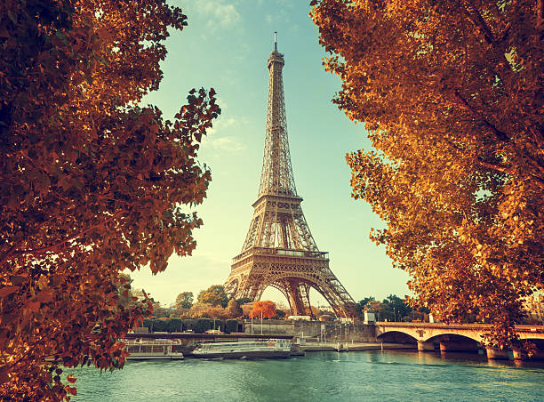 seine in paris with eiffel tower in autumn time - paris france stock photos and pictures