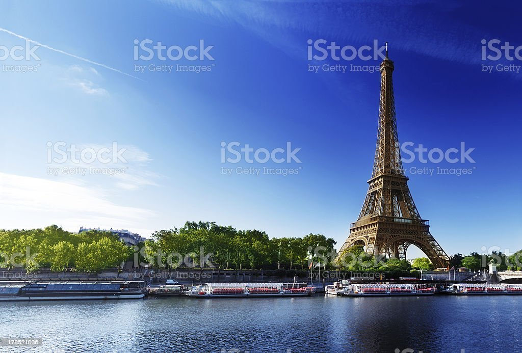 Seine in Paris with Eiffel tower royalty-free stock photo