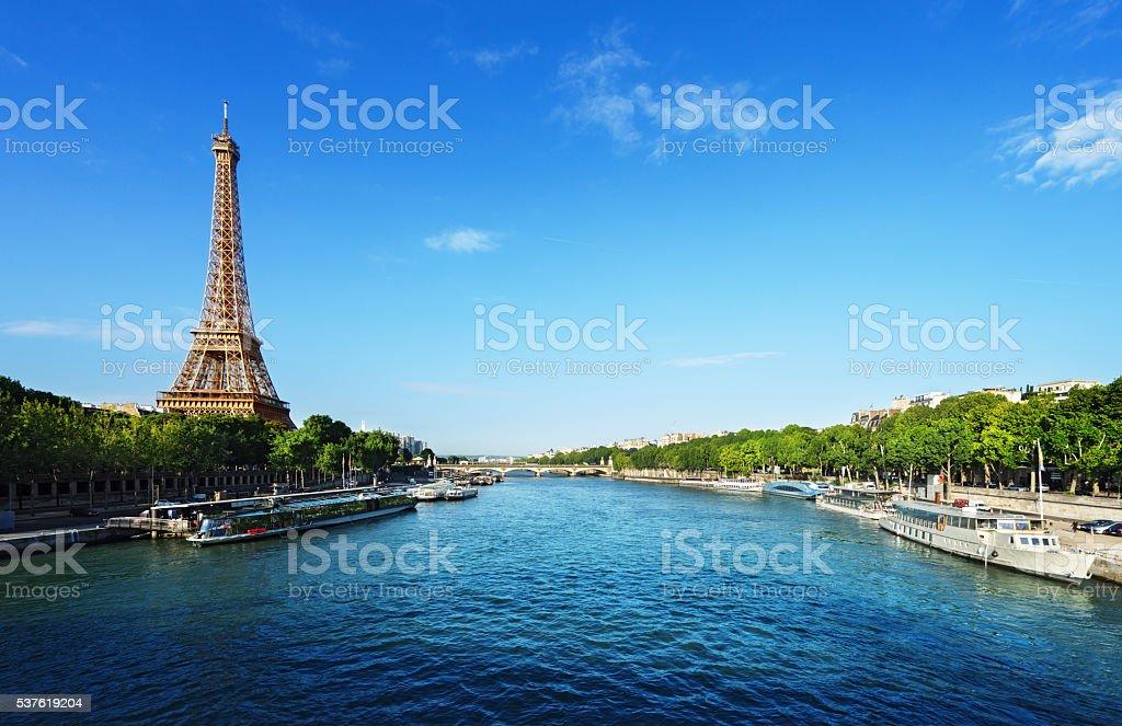 Seine in Paris with Eiffel tower stock photo