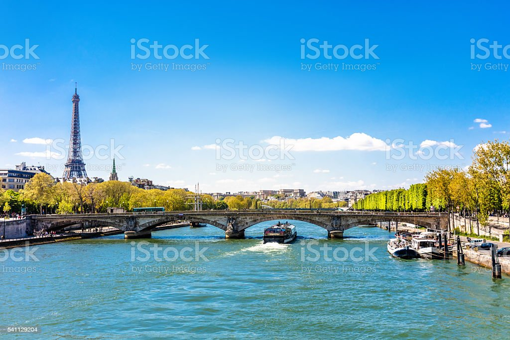 Seine River and Eiffel Tower in Paris, France stock photo