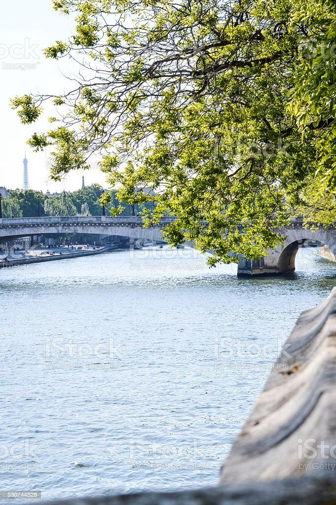 Seine river and pont de la Tournelle in Paris stock photo