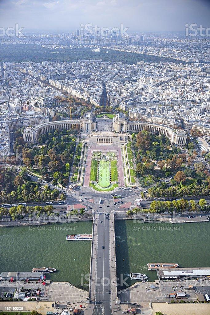 Seine River and Trocadero Garden royalty-free stock photo