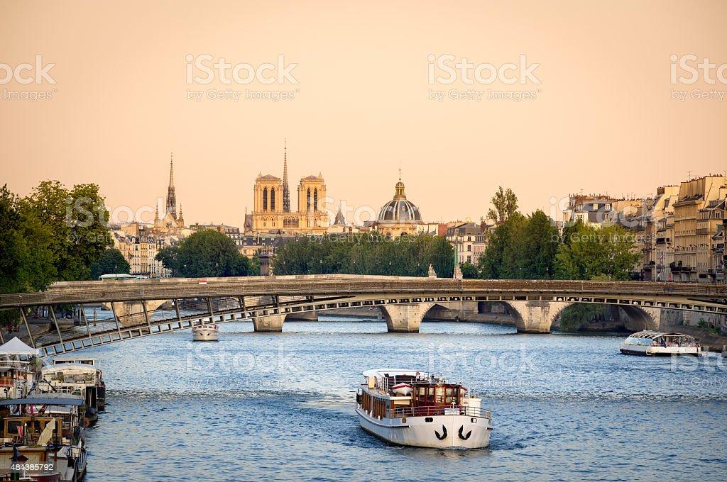 Seine River Bridges and Notre Dame Cathedral, Paris, France stock photo