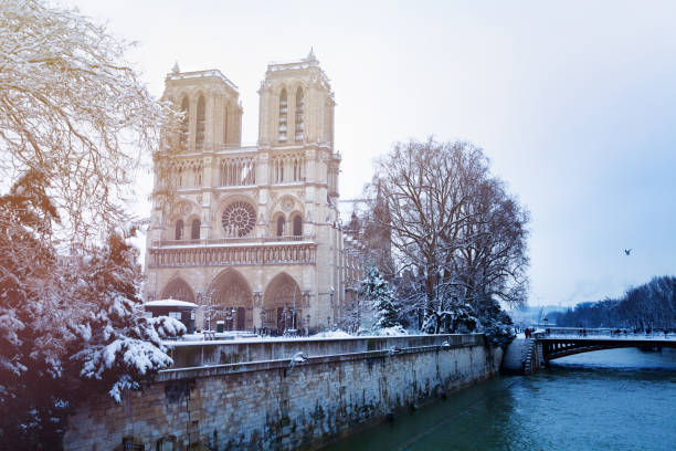 Seine Flußdamm und Notre-Dame im Schnee – Foto