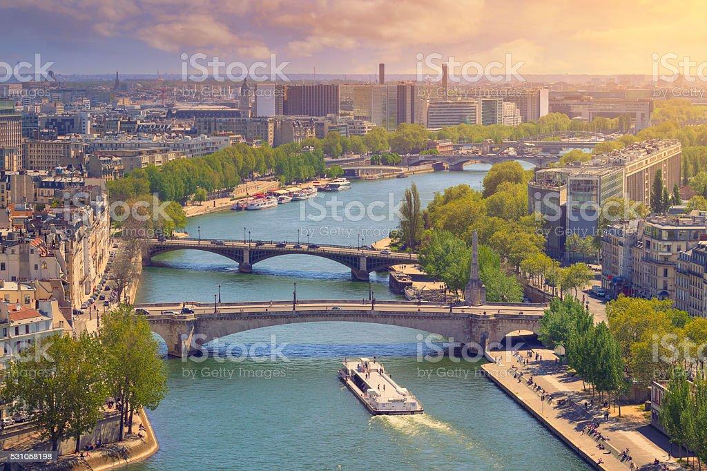 Seine river in Paris stock photo