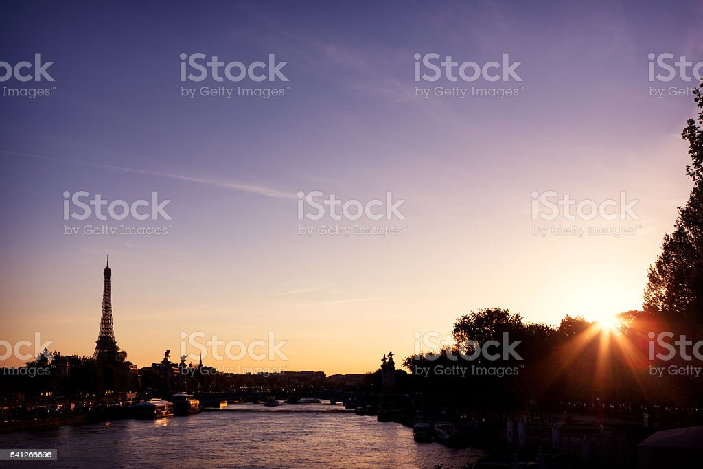 Seine river spring landscape stock photo