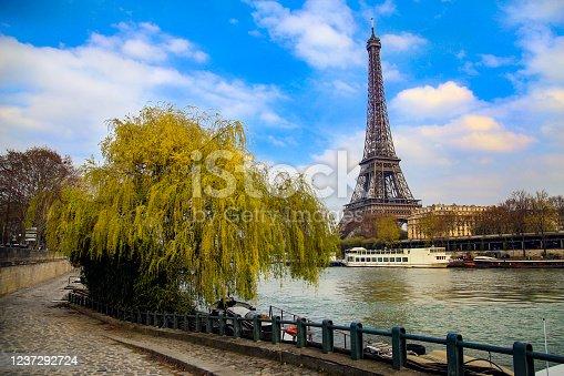 istock Seine riverbank and Eiffel Tower 1237292724