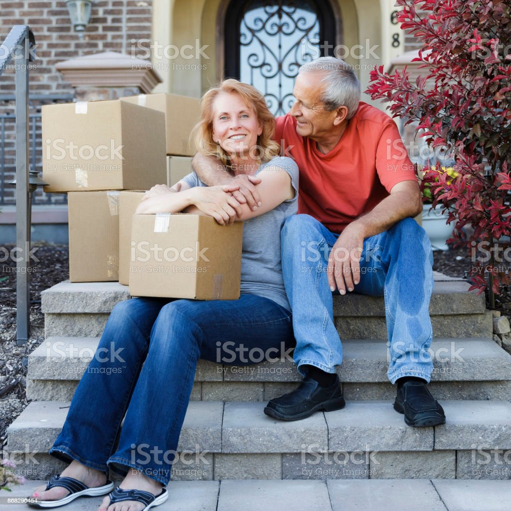 Seinor Couple Moving into Home stock photo
