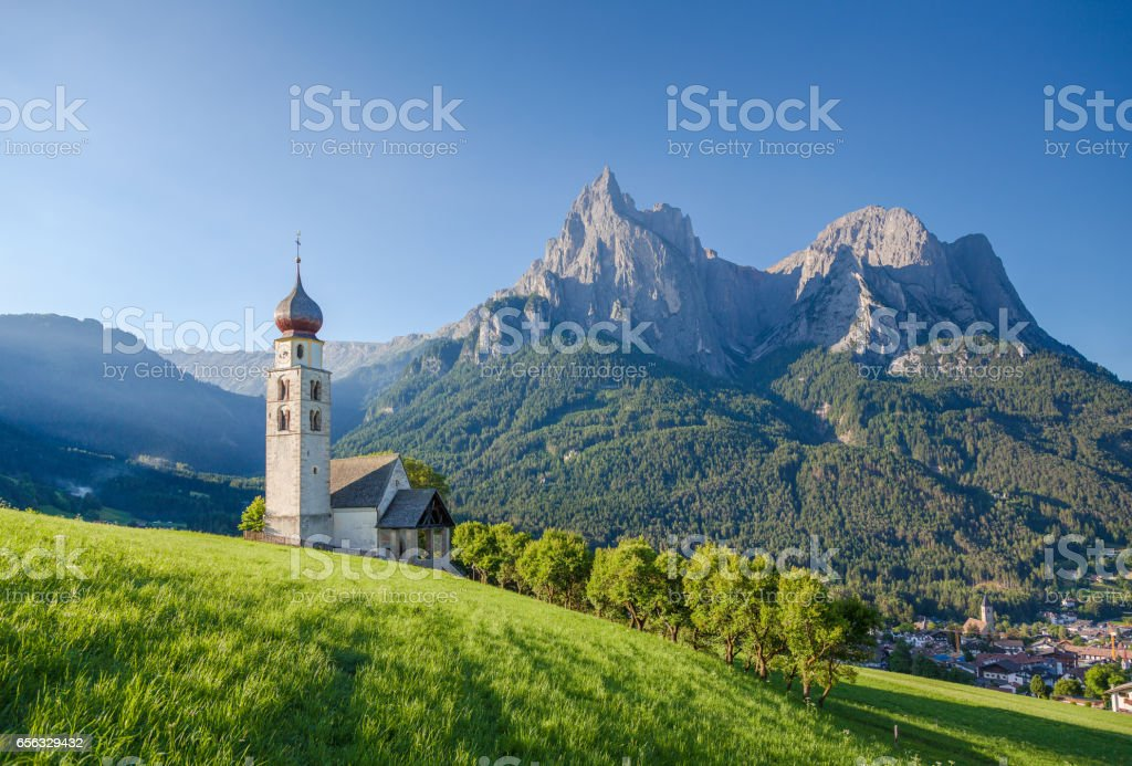 Seis am Schlern, Dolomites, South Tyrol, Italy stock photo