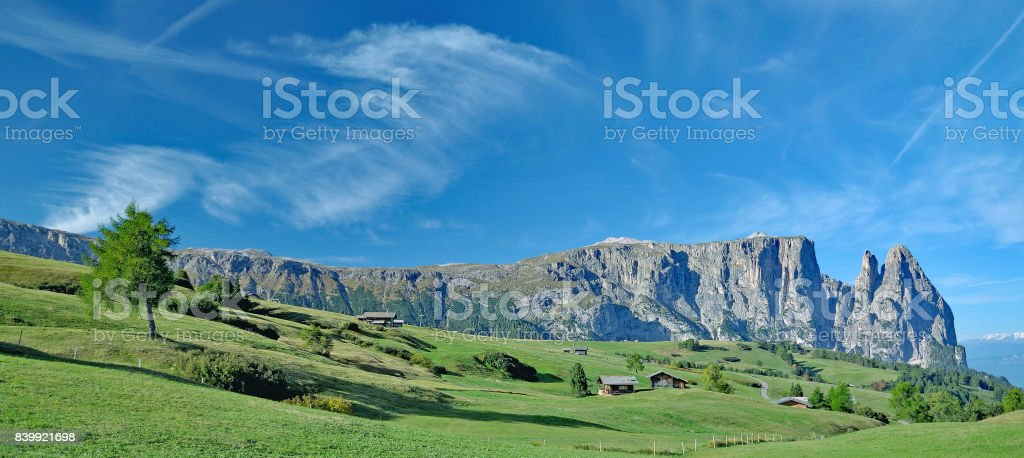 Seiser Alm and Mount Schlern,South Tirol,Italy stock photo