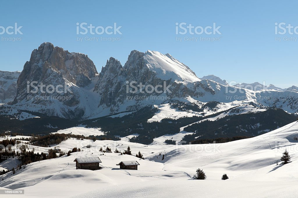 Seiser Alm and the Dolomites in winter stock photo