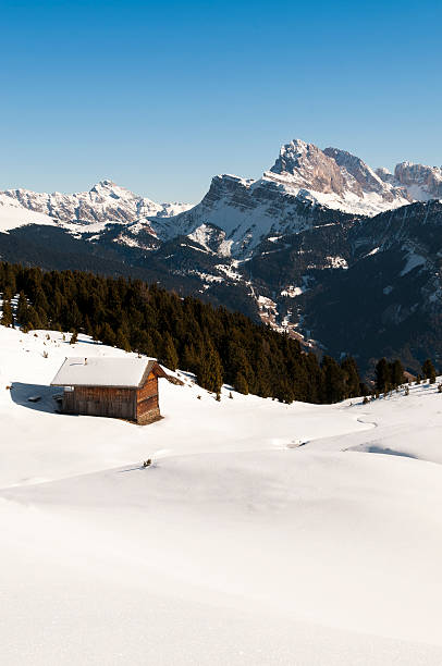 Seiser Alm and the Dolomites, italian Alps in winter Seiser Alm - Alpe di Siusi and Val Gardena (South Tyrol, Italian Alps). Winter in the Dolomites: UNESCO World Natural Heritage.  high seat stock pictures, royalty-free photos & images