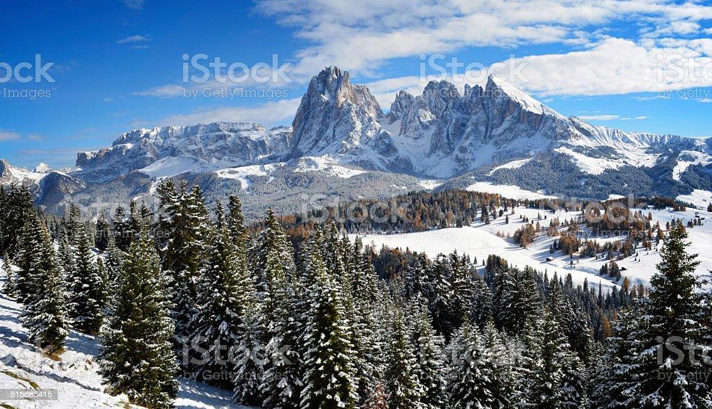 Seiser Alm in winter stock photo