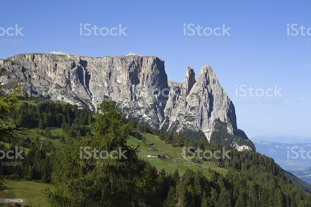 Seiser Alm (Italy) - Panorama of Sciliar Group stock photo