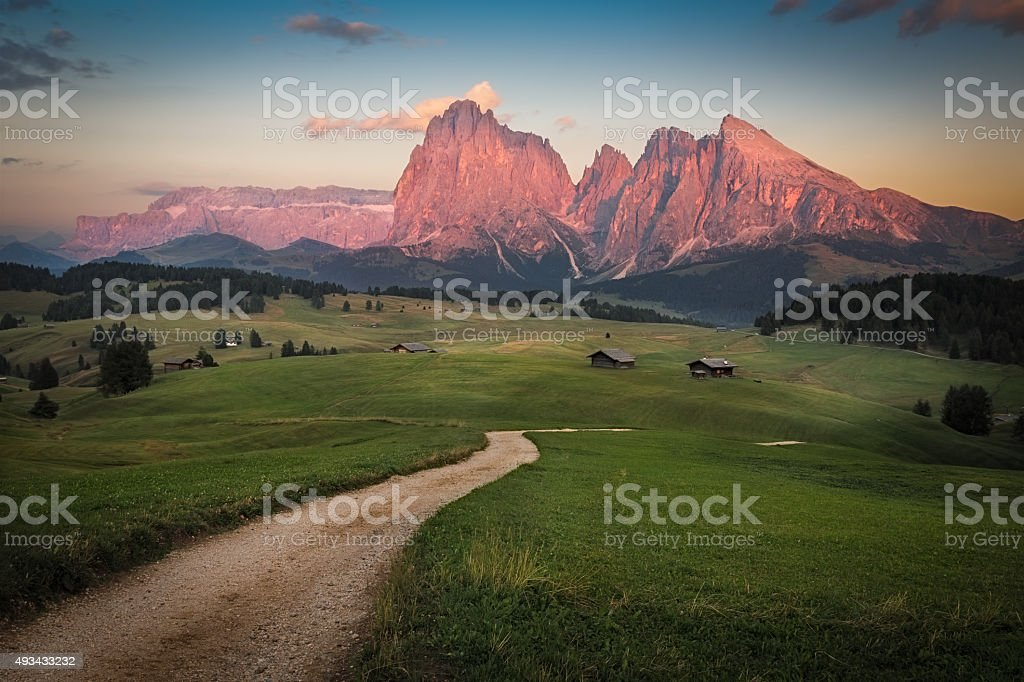 Seiser Alm with Langkofel Group after sunset, South Tyrol, Italy stock photo
