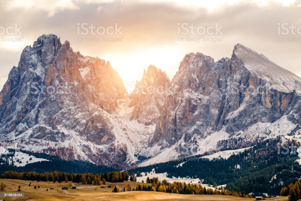 Seiser Alm with Langkofel Group, Italy stock photo