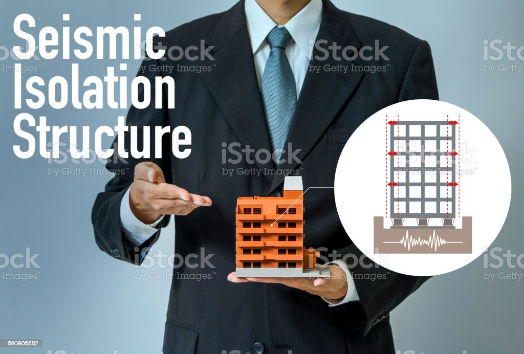 seismic isolation structure concept visual, base isolated system royalty-free stock photo