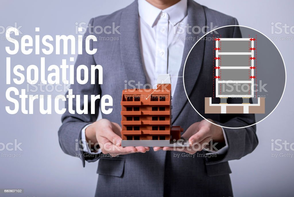 seismic isolation structure concept visual, base isolated system stock photo