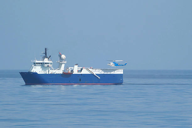 Seismic survey ship with helicopter