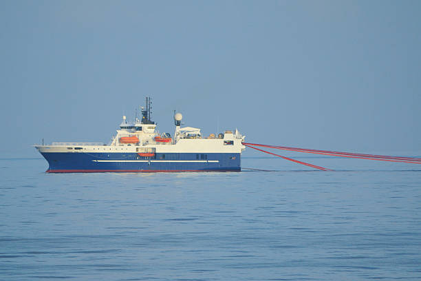 Seismic Survey Ship with streamers