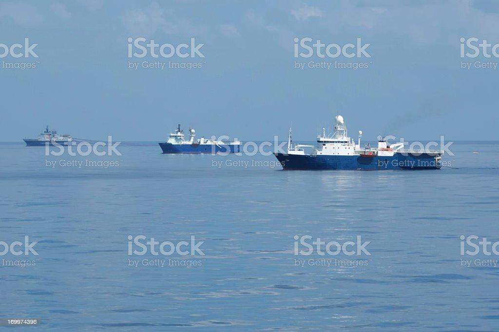 Seismic Survey Ships royalty-free stock photo