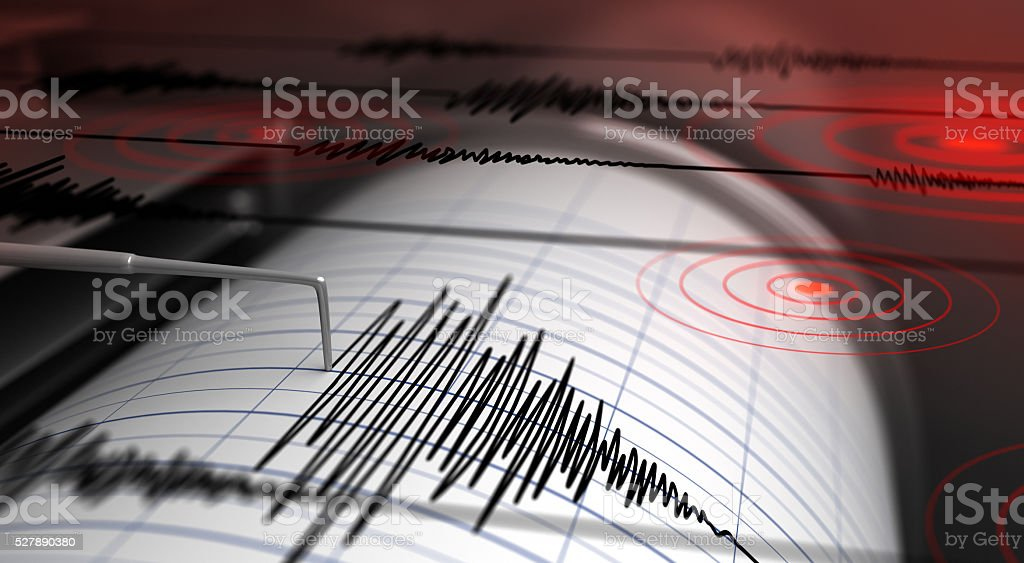 Seismograph and earthquake Seismograph with paper in action and earthquake - 3D Rendering Accidents and Disasters Stock Photo