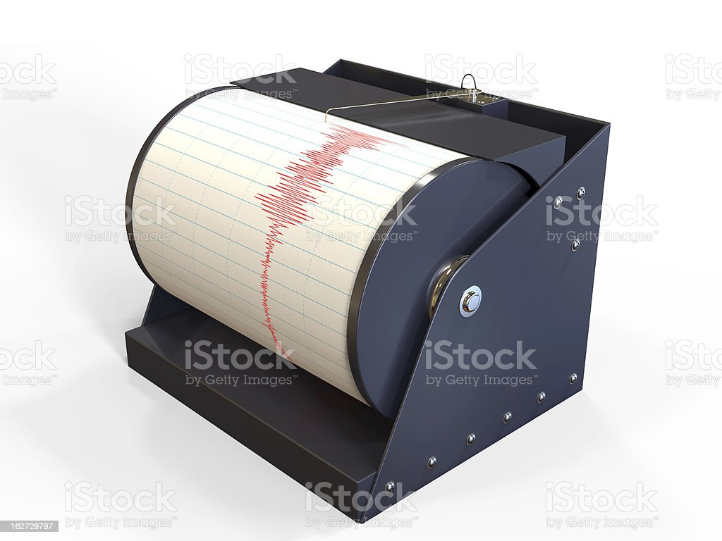 Seismograph instrument recording ground motion during earthquake stock photo