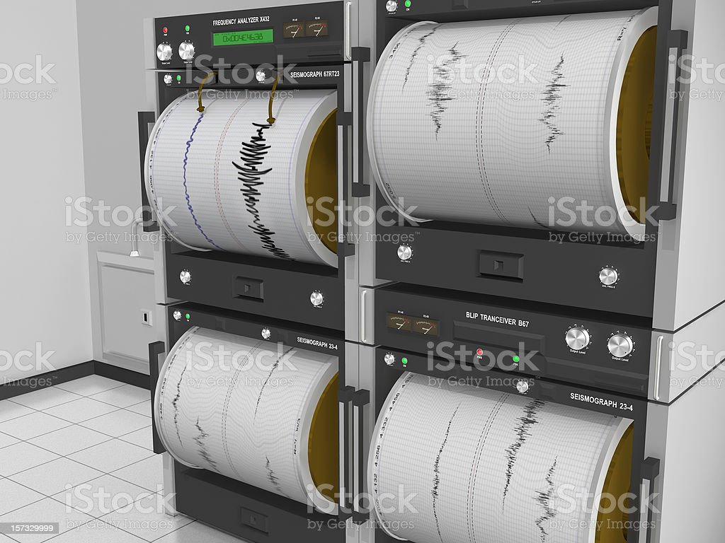 Seismograph Machine Room Angle View stock photo