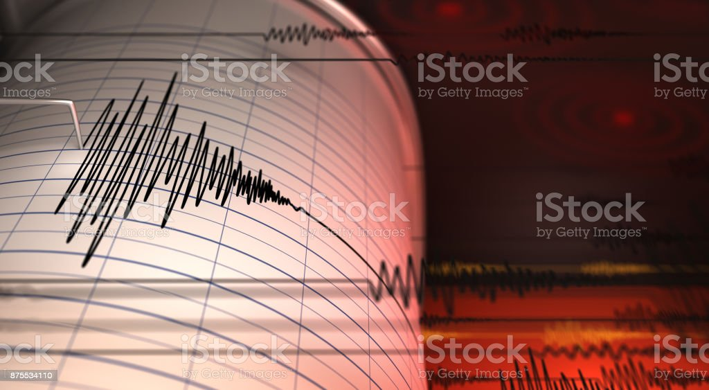 Seismograph Seismograph and Earthquake - 3D Rendering Accidents and Disasters Stock Photo