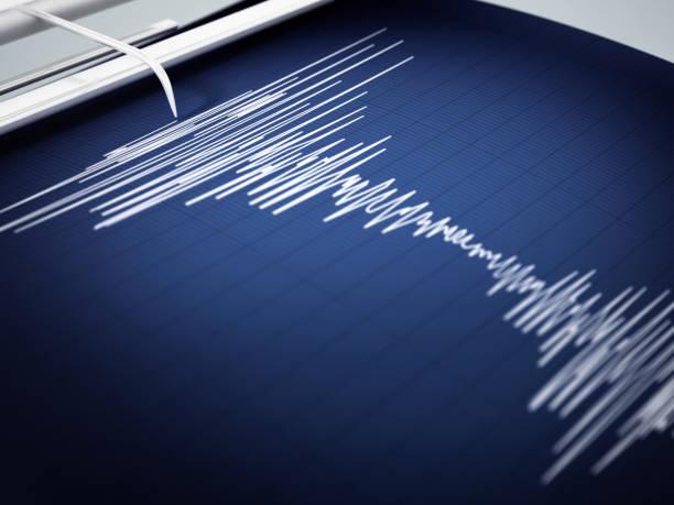 Seismograph Aufzeichnung seismischen Aktivität eines Erdbebens – Foto