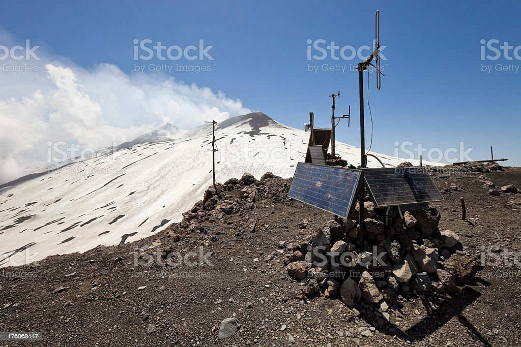 Seismographic station, Mt. Etna, Sicily, Italy stock photo