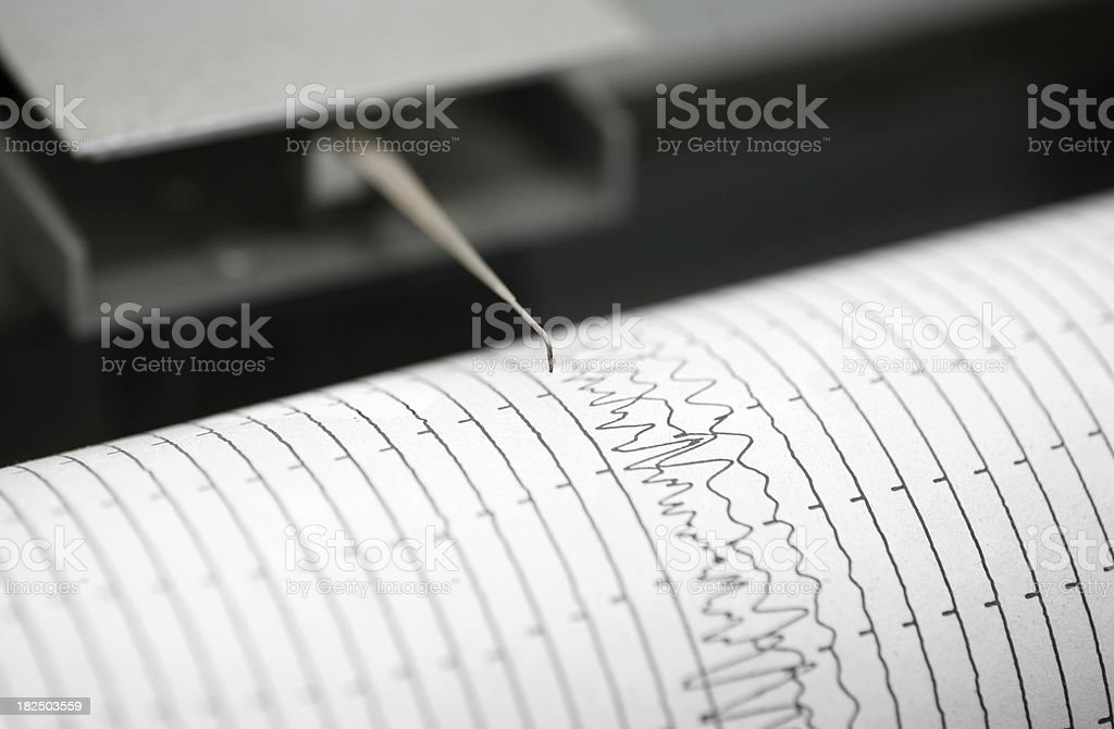 Seismometer printing details stock photo