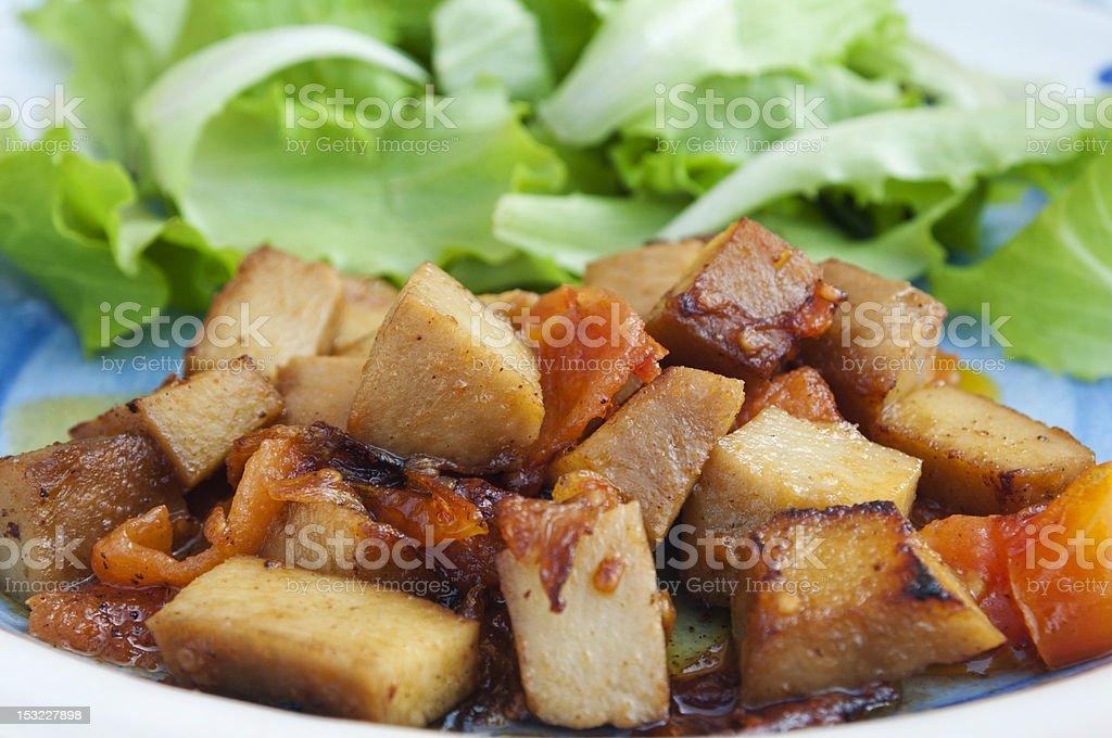 Seitan and salad stock photo