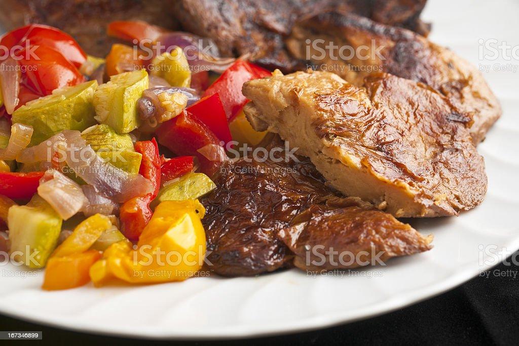 Seitan or Wheat Gluten with Ratatouille Braised Vegetables stock photo
